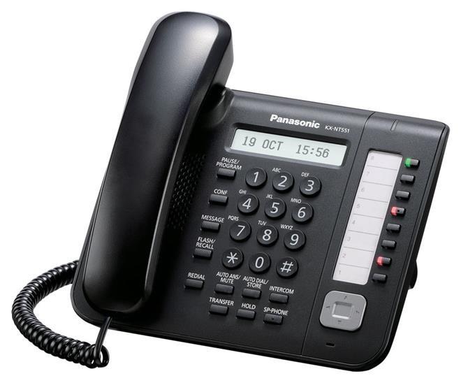 Panasonic KX-NT551X-B IP rendszertelefon fekete színben a KX-NS500/700/1000, KX-NCP500/1000 alközpontokhoz